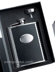 6 Oz. Bonded Black Leather Stainless Steel Flask W/ Funnel