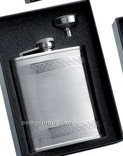 6 Oz. Stainless Steel Flask W/ Funnel