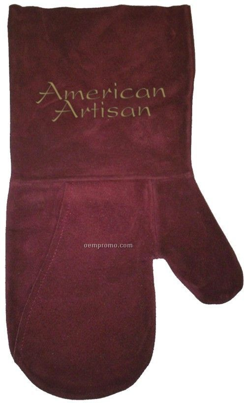 Suede Mitt, Laser Engraved, Washable (Burgundy)
