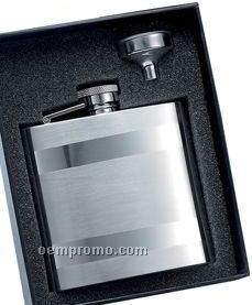 6 Oz. Stainless Steel Flask W/ Horizontal Stripes & Funnel Gift Set