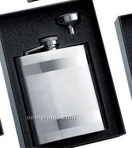 8 Oz. Stainless Steel Flask W/ 2 Horizontal Stripes & Funnel