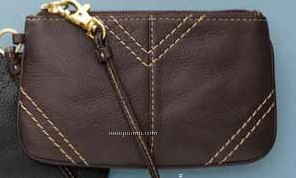 Small Leather Wristlet (Brown)