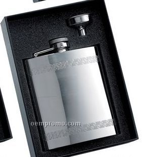 6 Oz. Stainless Steel Flask Horizontal Decorative Stripes & Flask