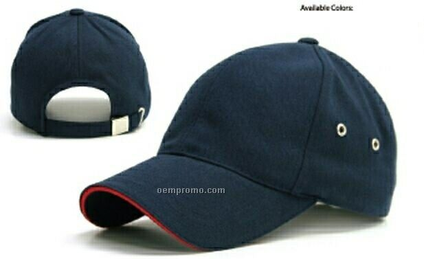 Constructed 6 Panel Cap With Side Metal Eyelets & Contrast Sandwich Bill