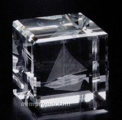 "Crystal 3d Gallery Square Cube Award (2 3/8""X2 3/8""X2 3/8"")"