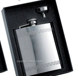 8 Oz. Stainless Steel Flask W/ Horizontal Decorative Stripes & Flask