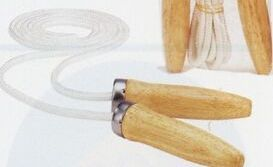 "Cotton Jump Rope With Wood Ball Bearing Handles (114"")"