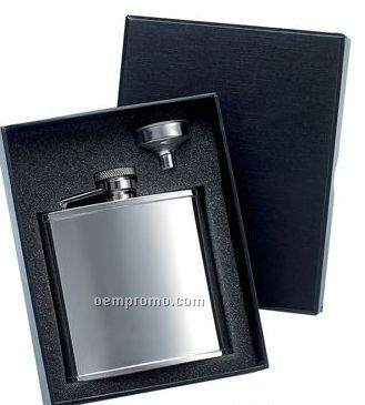 5 Oz. Stainless Steel Flask W/ Silver Funnel Gift Set