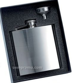 6 Oz. Stainless Steel Flask W/ Funnel Gift Set
