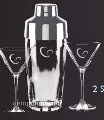 Shaker And 2 Signature Martini Glasses