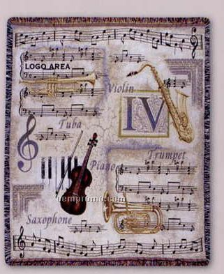 """Tapestry Stock Woven Throws - Music Note (53""""X67"""")"""