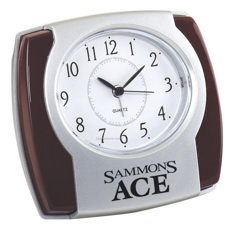 "Wood Trim Alarm Clock - 4-1/2""X4""X1"""