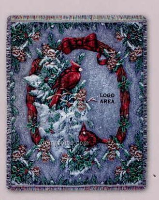 """Tapestry Stock Woven Throws - Winter Cardinals (53""""X67"""")"""