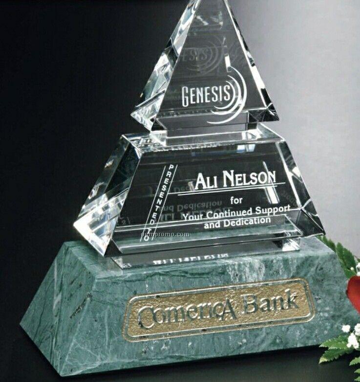 "Verde Gallery Crystal & Marble Vandalia Pyramid Award (8"")"