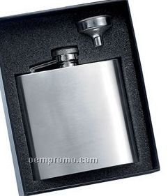 6 Oz. Stainless Steel Brush Finished Flask W/ Funnel Gift Set
