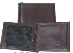 Brown Ostrich Leather Money Clip W/ Id Window