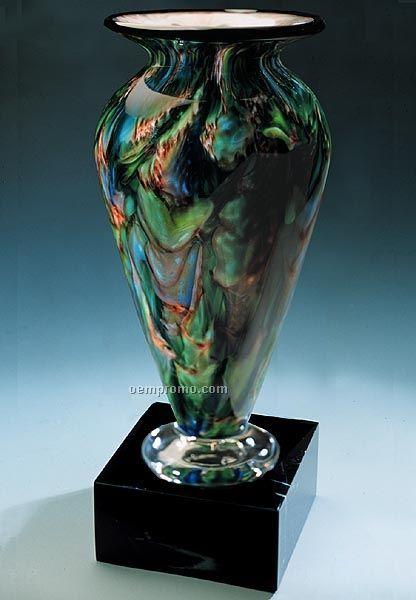 """Jade Glen Athena Vase W/ Marble Base (4.5""""X11.75"""")"""