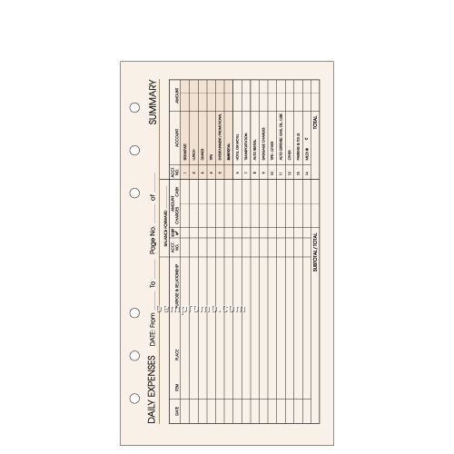 6-hole Expense Pages: 54 Count