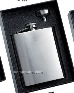 8 Oz. Stainless Steel Brush Finished Flask W/ Funnel Gift Set