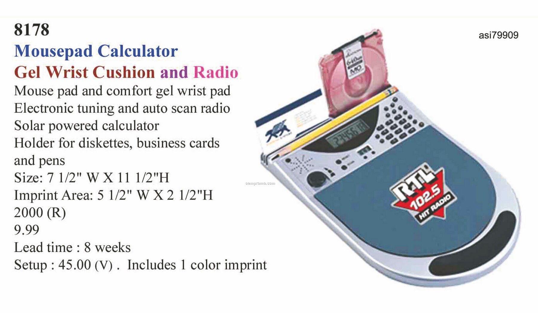 Promotekinc Mouse Pad Calculator / FM Radio / Clock (Includes Ear