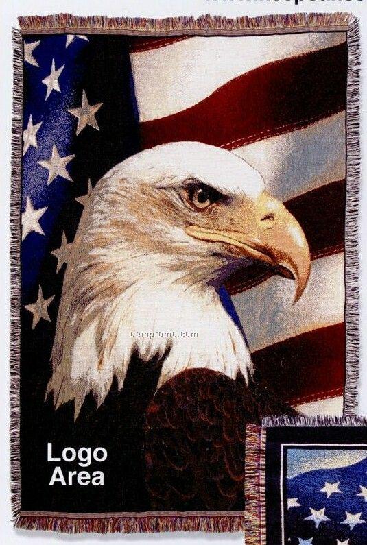 Stock Eagle W/ Flag Cotton Tapestry Throw Blanket