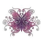 "Stock Temporary Tattoo - Pink & Purple Butterfly (2""X2"")"