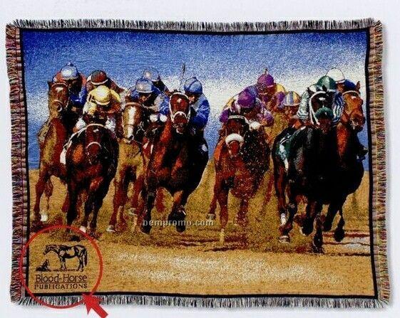 Stock Horse Racing Cotton Tapestry Throw Blanket