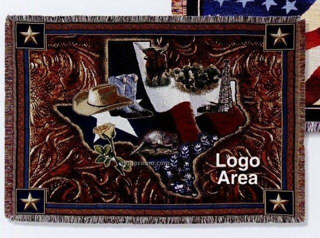 Stock State Of Texas Cotton Tapestry Throw Blanket