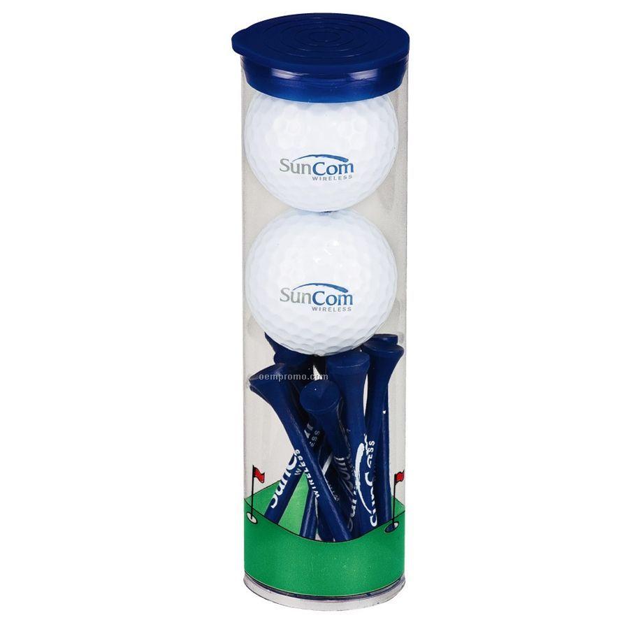 2 Ball Tall Tube & Tees W/ Top Flite Xl Distance