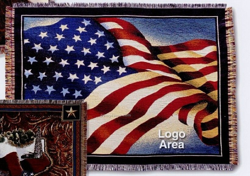 Stock American Flag Cotton Tapestry Throw Blanket