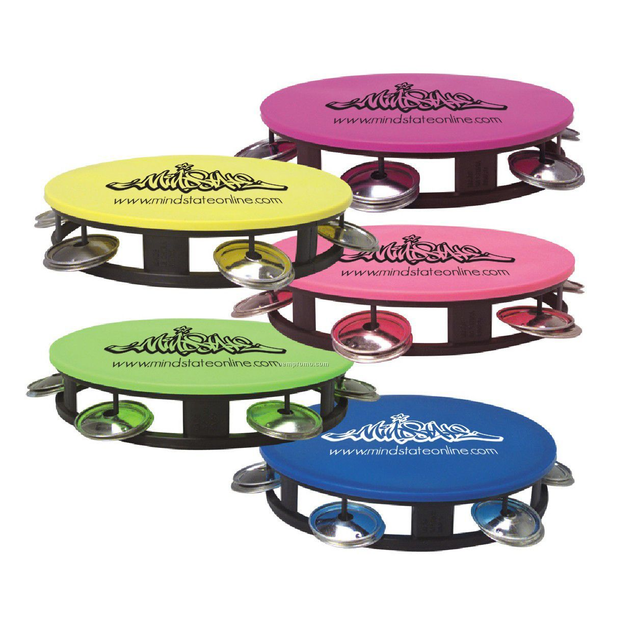 """Tambourine With Neon Top, 5 1/2"""""""