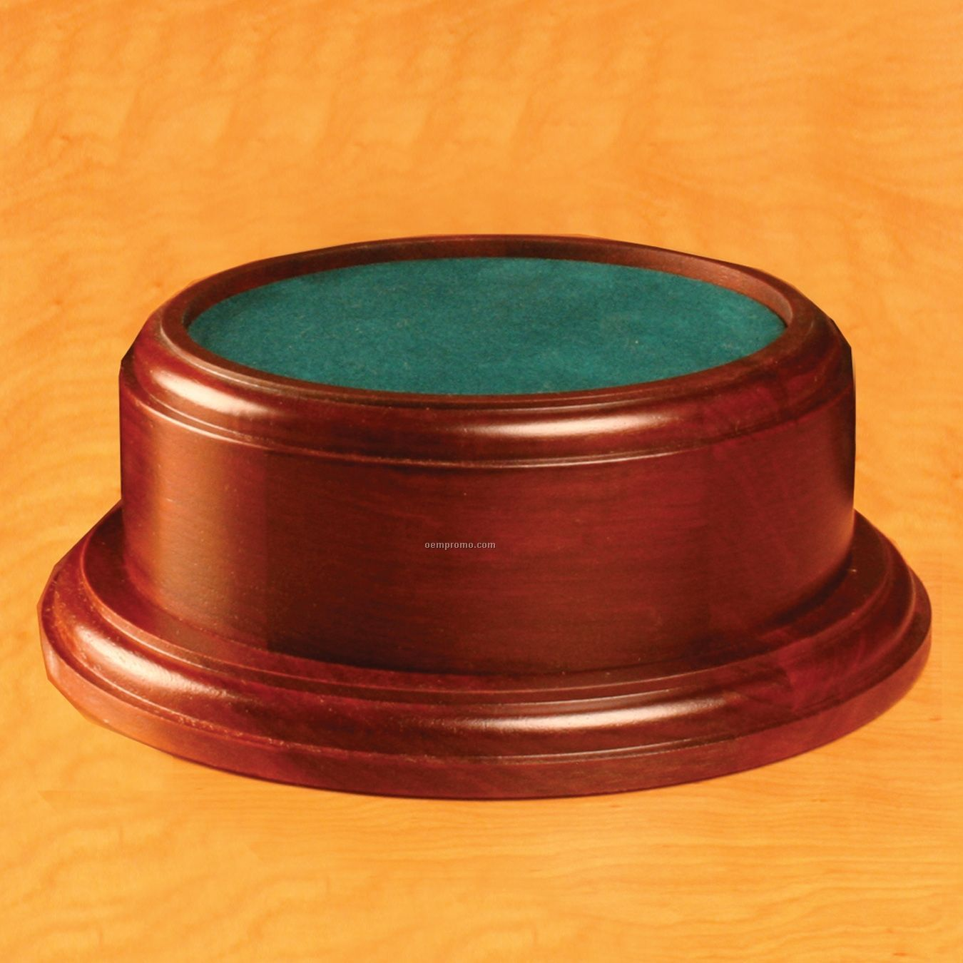 Small Round Rosewood Base W/ Plain Brass Plate