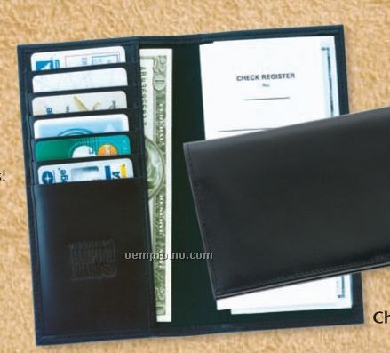 Ambassador Cowhide Deluxe Checkbook Cover - Imported