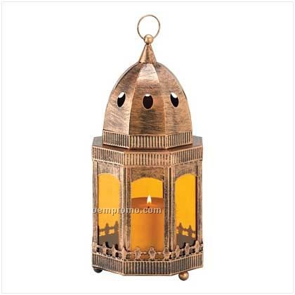 Copper/ Amber Candle Lantern