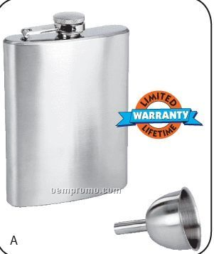 Maxam 8 Oz Stainless Steel Hip Flask With Funnel