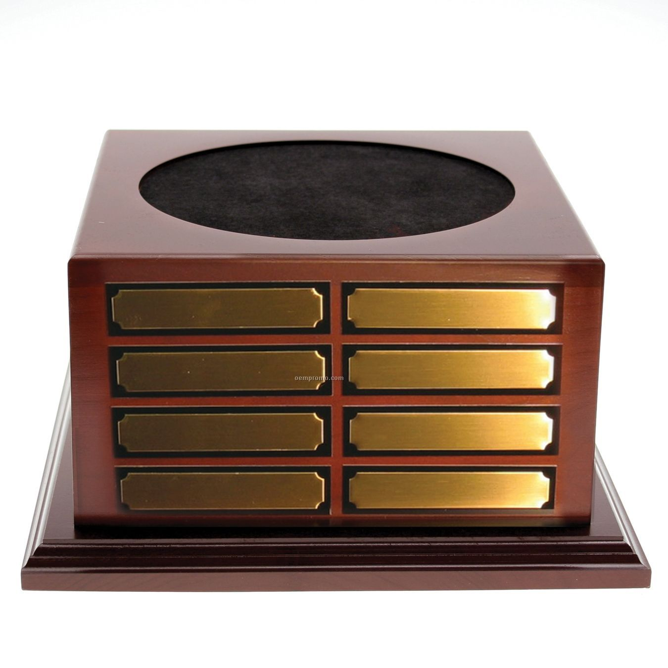 Cherrywood Finish Perpetual Wood Base W/ 8 Plain Brass Plates