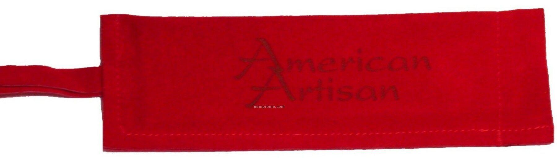 Suede Skillet/Bbq Sleeve, Laser Engraved, Washable (Red)