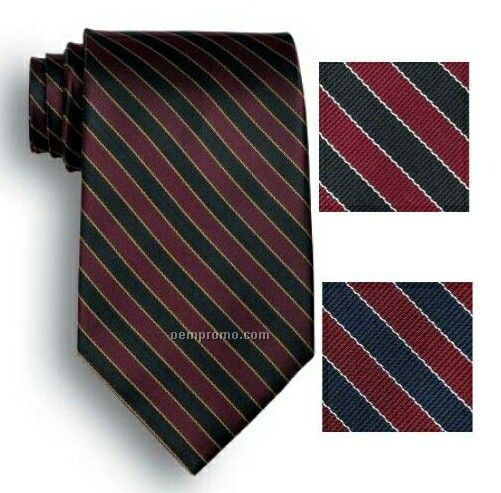 Wolfmark West India Signature Stripes Polyester Tie - Navy/Maroon/Gray