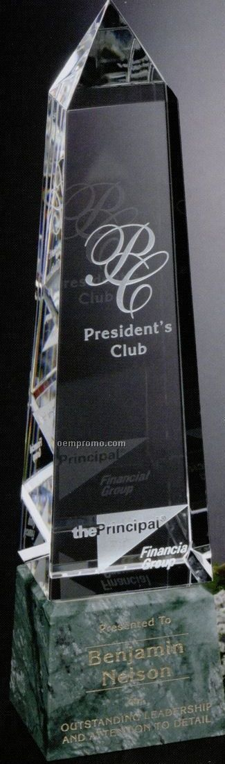 """Verde Gallery Crystal & Marble Verona Peak Award (12 3/4"""")"""
