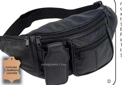 Embassy Genuine Lambskin Leather 6 Pocket Waist Bag