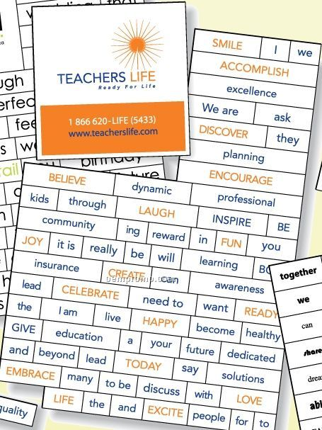 74-piece Screen Print Magnetic Word Set With Business Card