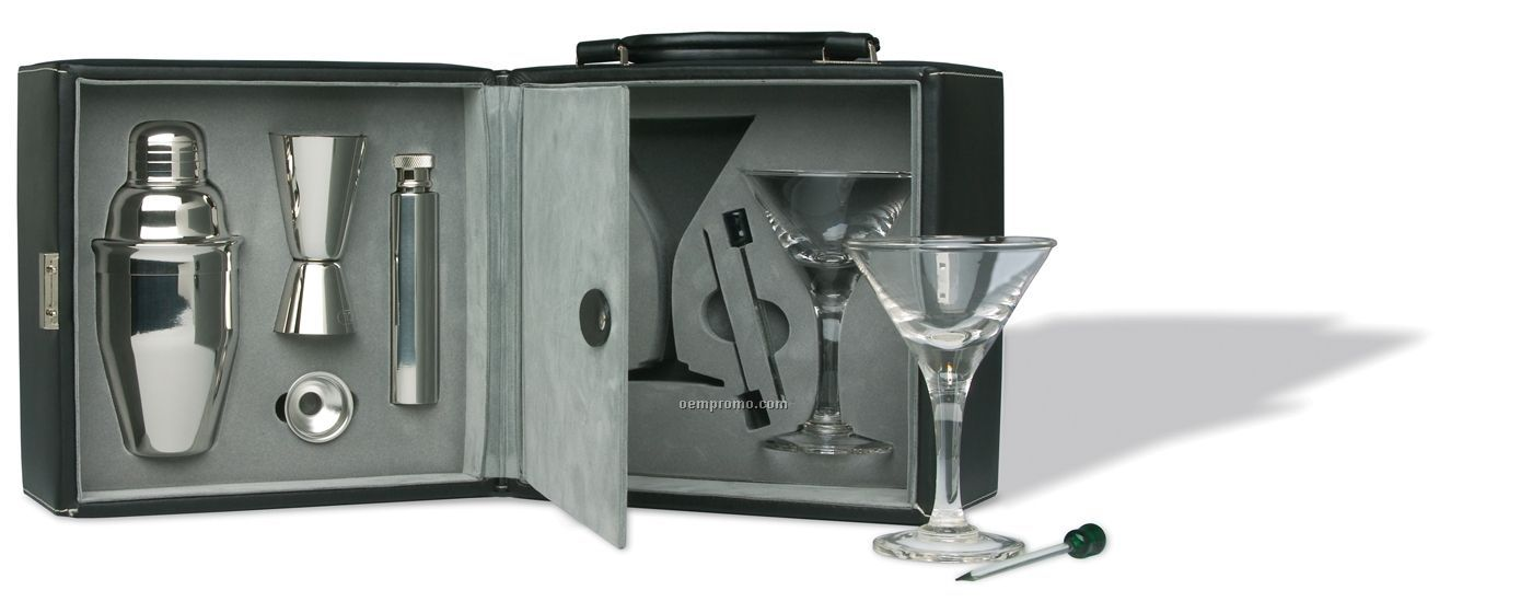 Martini Bar Set With Funnel & Shaker (Screen Printed)