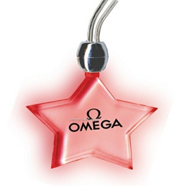 Non Blinking Light Up Star Necklace W/ Red LED (3 Week Delivery)