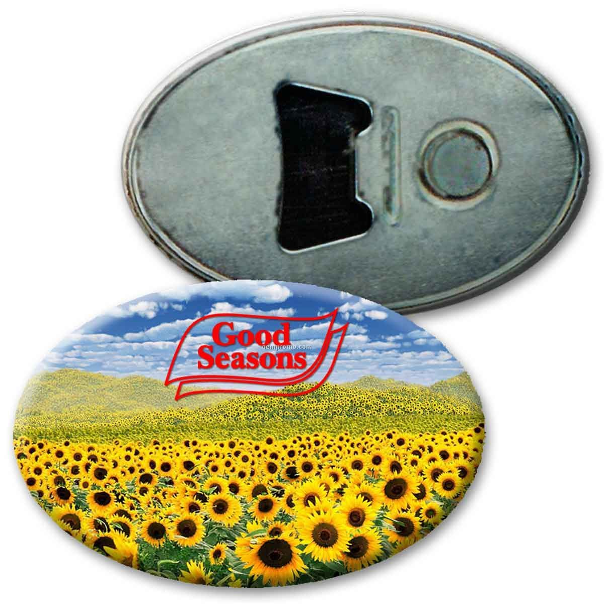 Oval Magnetic Bottle Opener W/3d Lenticular Effects (Custom)