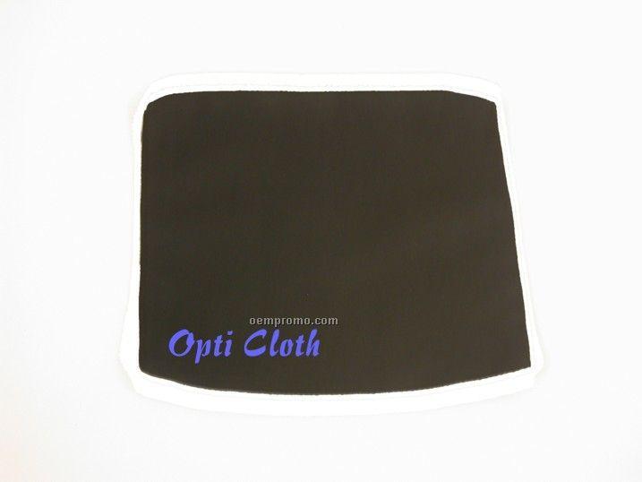 "Premium 6"" X 6"" Black Opticloth With Silk Screened Imprint"