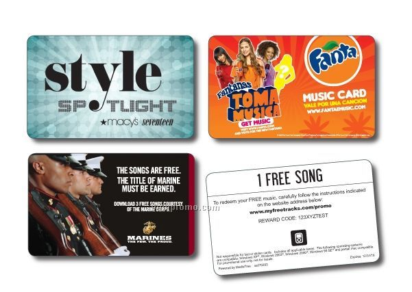 Free Music Download Cards - 4 Songs