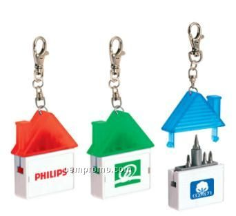 House Shaped Keychain With Tools