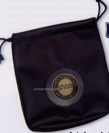 """Leatherette Valuables Vinyl Pouch W/ 2"""" Club Lorente Medallion"""