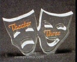 Acrylic Paperweight Up To 12 Square Inches / Drama Masks / Thespian Masks