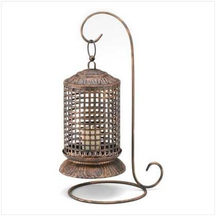 Copper Lattice Candle Lantern